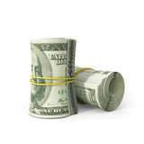 Close up Bunch of 100 US Dollar. Paper Bill Rolled with Rubber, on White Background royalty free illustration