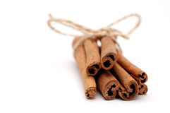 close up of a bundle of cinnamon sticks Royalty Free Stock Photo