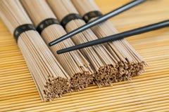 Close-up bundles of soba noodles Royalty Free Stock Photos