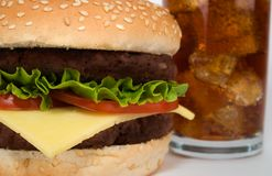 Close up Burger & Cola Stock Images