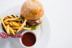 Close up of burger by french fries in container with tomato sauce Stock Images