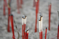 Close up with Burned joss stick in joss stick pot in Thai temple royalty free stock photography