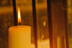Close up of a burning candle flame Stock Images