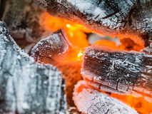Close up burning charcoal Royalty Free Stock Photography