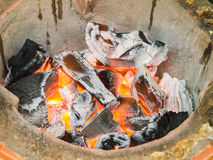 Close up burning charcoal Royalty Free Stock Images