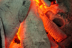 Close up burning charcoal grill. Stock Photography