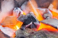 Close up of burning charcoal ready for cooking food and bbq. Stock Photo