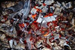 Close-up of burning charcoal Royalty Free Stock Photo