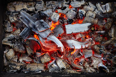 Close-up of burning charcoal Royalty Free Stock Photography