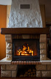 Close up of burning fireplace at home Royalty Free Stock Photos