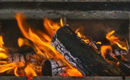 Close up of burning fireplace at home Stock Images