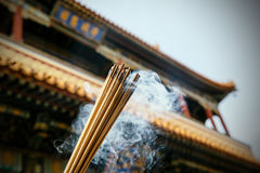 Close up of burning incense sticks in a pagoda Royalty Free Stock Images