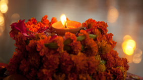 Close up of burning light lamp in the Indian temple Royalty Free Stock Photo