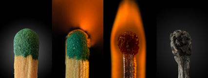 Close up of a burning match - Compilation Royalty Free Stock Images