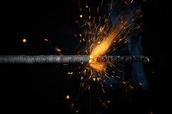 Close up burning sparkler isolated on black background. Close up burning sparkler or bickford cord isolated on black background Stock Photo