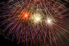Close up bursting fireworks Stock Images