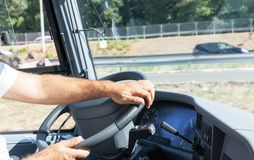 Bus or coach driver at work stock image