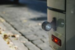Close Up Of bus Lamp. safe traffic stock image
