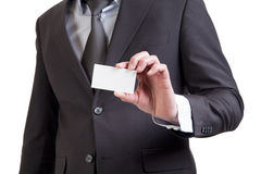 Close-up of business card in business man. Hand royalty free stock photography