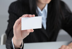 Close-up of business card in women hand Royalty Free Stock Photos