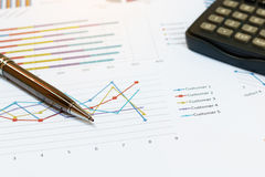 Close up business concept, Pen is on summary report and calculat Royalty Free Stock Images