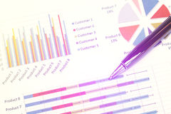 Close up business concept, Pen is on summary report on paperwork Royalty Free Stock Photo