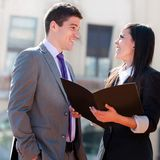 Close up of business couple outdoors.. Stock Image