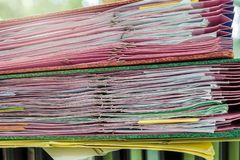 Close up of business documents stack on desk royalty free stock photos