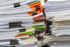 Close up of business documents stack on desk Royalty Free Stock Photo