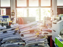 Close up of business documents stack on desk Stock Photos