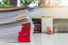Close up of business documents stack on desk Stock Photography