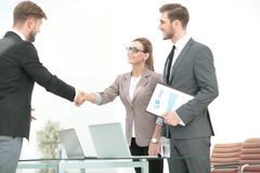 Close up of business handshake in the office Royalty Free Stock Images