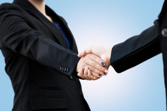 Close Up of a business handshake. Selective focus of hand Royalty Free Stock Photography