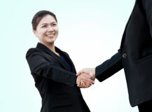 Close Up of a business handshake. Selective focus of hand Stock Photo