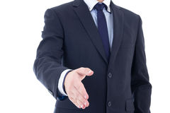 Close up of business man hand extended to handshake isolated on Stock Image