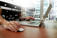 Close up of business man hand working on laptop Royalty Free Stock Photography