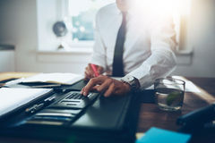 Close up, business man or lawyer accountant working on accounts Royalty Free Stock Photo