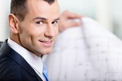 Close up of business man with layout Stock Images