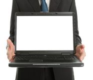 Close-up of business man presenting laptopn Royalty Free Stock Photos