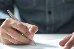 Close up business man signing contract making a deal, classic bu Royalty Free Stock Photo
