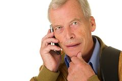 Close-up business man talking on his mobil phone Royalty Free Stock Photography