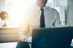 Close up of business man working at laptop royalty free stock photos