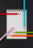 Close-up of business note paper. Template for blank note paper with colorful pencil for text and note. Stock Photo