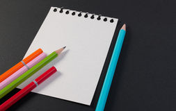 Close-up of business note paper. Template for blank note paper with colorful pencil for text and note. Stock Images