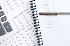 Close up of business notebook, pen, calculator Royalty Free Stock Photography