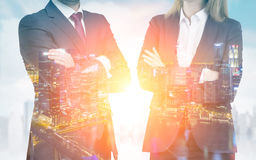 Close up of business partners. Night cityscape Royalty Free Stock Images