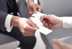 Close Up.business People Exchanging Business Cards Stock Photos