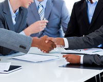 Close-up of business people greeting each other Stock Images