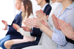 Close up of business people hands  clapping at conference Royalty Free Stock Photos