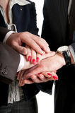 Close Up of business people hands making a pile Royalty Free Stock Images